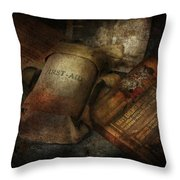 Doctor - Wwii Emergency Med Kit Throw Pillow by Mike Savad