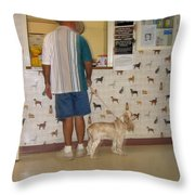 Dog Owner Dog Vet's Office Casa Grande Arizona 2004 Throw Pillow by David Lee Guss