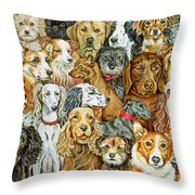Dog Spread Throw Pillow by Ditz