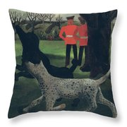 Dogs at Play Throw Pillow by Christopher Wood