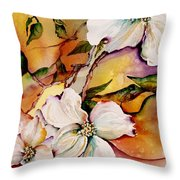 Dogwood In Spring Colors Throw Pillow by Lil Taylor