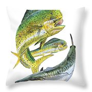 Dolphin Kingfish Throw Pillow by Carey Chen