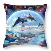 Dolphins by Moonlight Throw Pillow by Adrian Chesterman