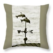Dolphins Weathervane In Sepia Throw Pillow by Ben and Raisa Gertsberg