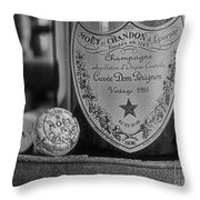 Dom Perignon In Black And White Throw Pillow by Paul Ward