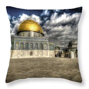 Dome Of The Rock Closeup Hdr Throw Pillow by David Morefield