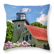 Door County Eagle Bluff Lighthouse Lilacs Throw Pillow by Christopher Arndt