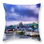 Door County Gills Rock Morning Catch Panorama Throw Pillow by Christopher Arndt