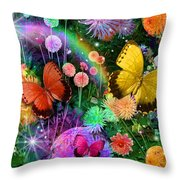 Double Dahlia Flower Party Throw Pillow by Alixandra Mullins