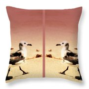 Double Gulls Collage Throw Pillow by Susanne Van Hulst
