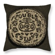 Double Stuff Oreo In Sepia Negitive Throw Pillow by Rob Hans