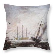 Down To The Sea In Ships Throw Pillow by Lianne Schneider