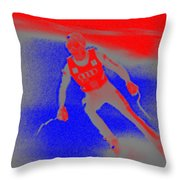 Downhill Skier Throw Pillow by George Pedro