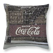 Downtown Covered In Snow Throw Pillow by Benanne Stiens