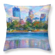 Downtown Minneapolis Skyline From Lake Calhoun Throw Pillow by Quin Sweetman