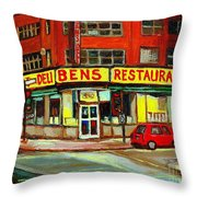 Downtown Montreal Memories Ben's Restaurant Deli  Le Fameux Smoked Meat Produits By Carole Spandau Throw Pillow by Carole Spandau