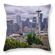 Downtown Seattle From Kerry Park Throw Pillow by Allen Beatty