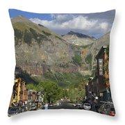 Downtown Telluride Colorado Throw Pillow by Mike McGlothlen