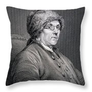 Dr Benjamin Franklin Throw Pillow by English School