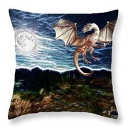 Dragon Night Throw Pillow by Methune Hively