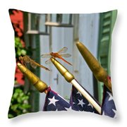 Dragonflies In Full Salute Throw Pillow by Nancy Patterson