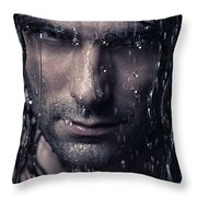 Dramatic Portrait Of Man Wet Face With Long Hair Throw Pillow by Oleksiy Maksymenko