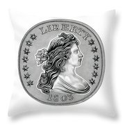Draped Bust Liberty Throw Pillow by Fred Larucci