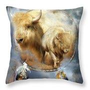 Dream Catcher - Spirit Of The White Buffalo Throw Pillow by Carol Cavalaris