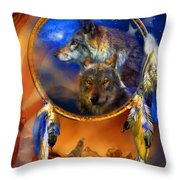 Dream Catcher - Wolf Dreams Patriotic Throw Pillow by Carol Cavalaris