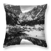 Dream Lake Reflection Black And White Throw Pillow by Aaron Spong