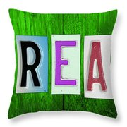 DREAM License Plate Letter Vintage Phrase Artwork on Green Throw Pillow by Design Turnpike