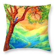 Dreaming of Bluebells Throw Pillow by Jane Small