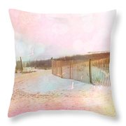 Dreamy Cottage Summer Beach Ocean Coastal Art Throw Pillow by Kathy Fornal