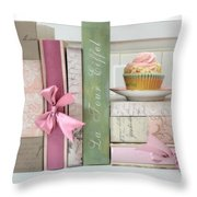 Dreamy Romantic Pastel Shabby Chic Cottage Chic Books With Pink Cupcake - Food Photography Throw Pillow by Kathy Fornal