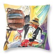 Drinking Wine In Lanzarote Throw Pillow by Miki De Goodaboom