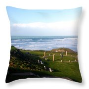 Droskyn Sundial Perranporth Throw Pillow by Terri  Waters