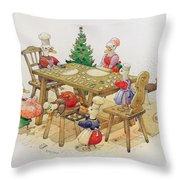 Ducks Christmas Throw Pillow by Kestutis Kasparavicius