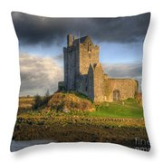 Dunguaire Castle With Dramatic Sky Kinvara Galway Ireland Throw Pillow by Juli Scalzi