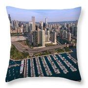 Dusable Harbor Chicago Throw Pillow by Steve Gadomski