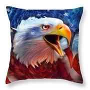 Eagle Red White Blue 2 Throw Pillow by Carol Cavalaris