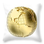 Earth In Gold Metal Isolated On White Throw Pillow by Johan Swanepoel
