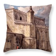 East Bergholt Church, Northside Throw Pillow by John Constable