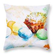 Easter Colors Throw Pillow by Zaira Dzhaubaeva