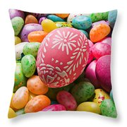 Easter Egg And Jellybeans Throw Pillow by Garry Gay