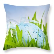 Easter egg in grass Throw Pillow by Elena Elisseeva