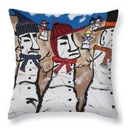 Easter Island Snow Men Throw Pillow by Jeffrey Koss
