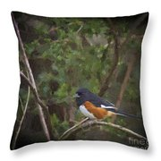 Eastern Towhee In Oil Throw Pillow by Cris Hayes