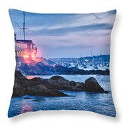 Eastern Yacht club starts the Marblehead harbor illumination off Throw Pillow by Jeff Folger