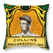 Eddie Collins Philadelphia Athletics Baseball Card 1025 Throw Pillow by Wingsdomain Art and Photography