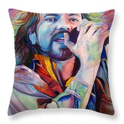 Eddie Vedder In Pink And Blue Throw Pillow by Joshua Morton